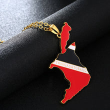 Load image into Gallery viewer, Trinidad and Tobago Map/Flag Necklaces