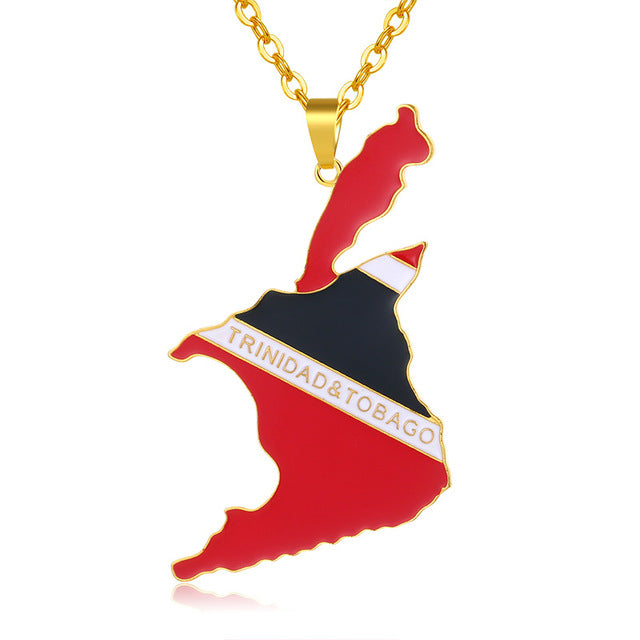 Trinidad and Tobago Map/Flag Necklaces