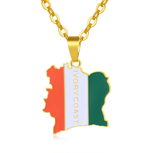 COTE D IVOIRE Map Necklace