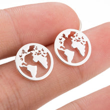 Load image into Gallery viewer, World Map Trendy Stud Earrings for Travel gift Vintage