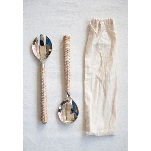 Stainless Steel Salad Servers with Bamboo Handles-Kitchen-Anecdote