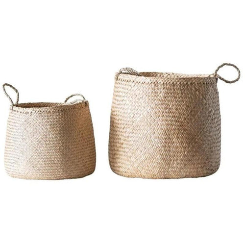 "18-1/2"" Round x 18-1/2""H & 14"" Round x 14""H Natural Woven Seagrass Baskets w/ Handles, Set of 2-Objects-Anecdote"