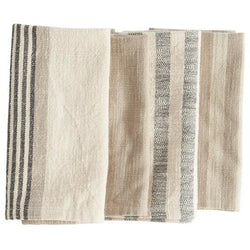 Set of 4 Square Woven Cotton Striped Napkins-Kitchen-Anecdote