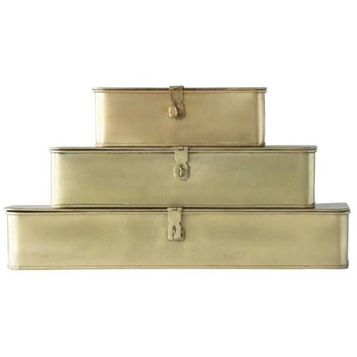 Decorative Brass Storage Boxes, Set of 3-Objects-Anecdote