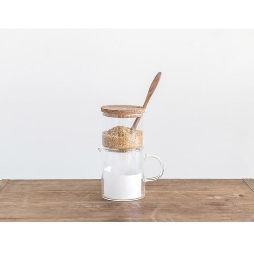 Set of Glass Cream & Sugar Containers w/ Cork Lid & Wood Spoon-Kitchen-Anecdote