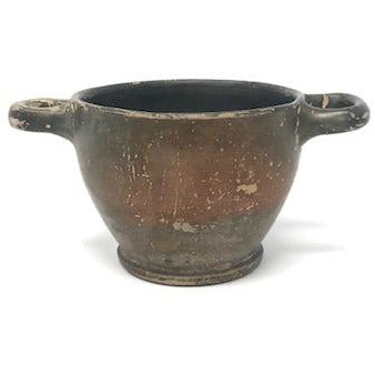 Double Handled Greek Blackware Bowl