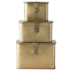 Decorative Metal Boxes, Brass Finish Set of 3-Objects-Anecdote