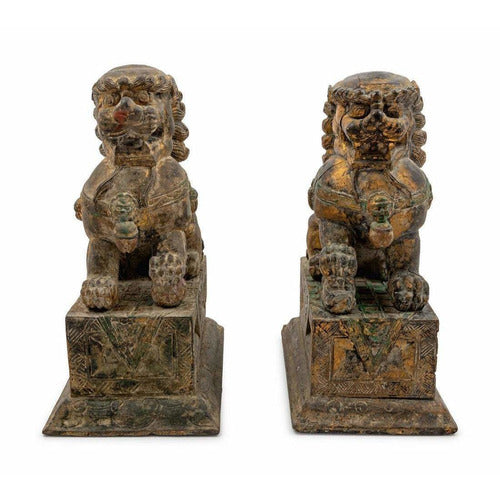 Pair of Carved Wood Fu Lions-Vintage-Anecdote