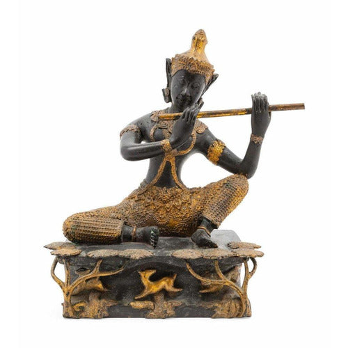 Thai Gilt and Patinated Bronze Flute Player-Vintage-Anecdote