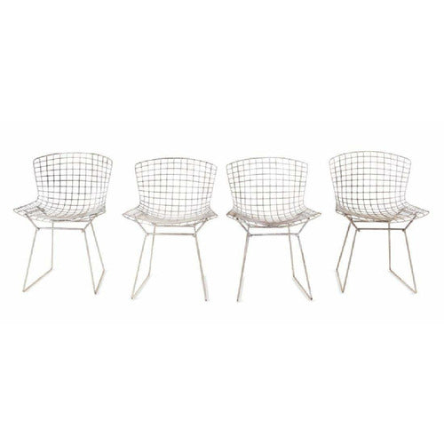 Set of 4 Bertoia Wire Dining Chairs-Vintage-Anecdote