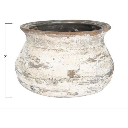 Small Vintage Clay Pot with Ring Stand
