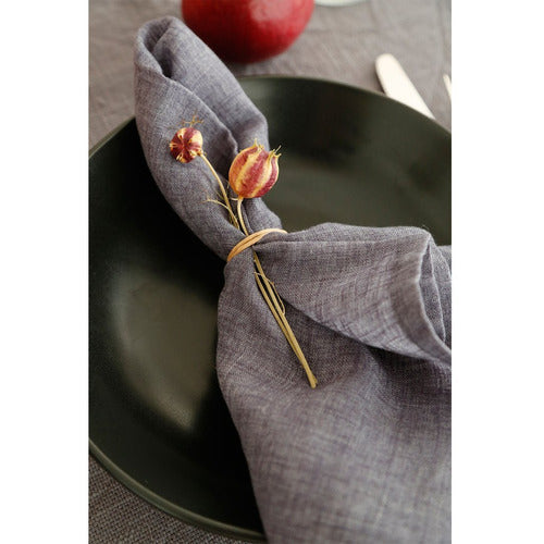GLENN - NAPKINS - CHARCOAL (SET OF 4)-Bedding and Linens-Anecdote