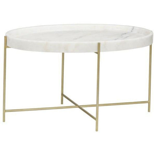Che Cocktail Table, Antique Brass, Metal and Stone-Table-Anecdote