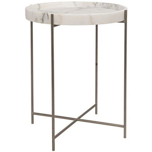 Chico Side Table, Antique Silver, Metal and Stone-Table-Anecdote