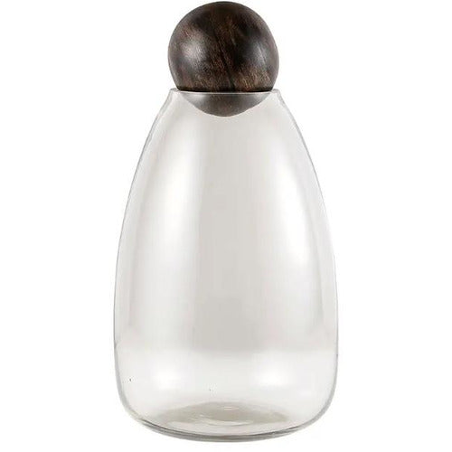 Glass Carafe with Wooden Ball Stopper