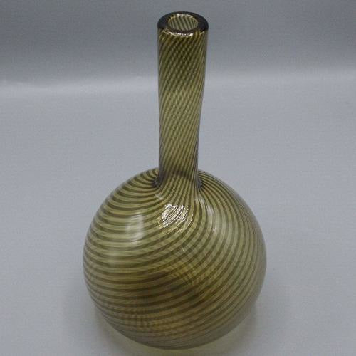 Italian Amber Lattice Swirl Glass Vase-Vintage-Anecdote