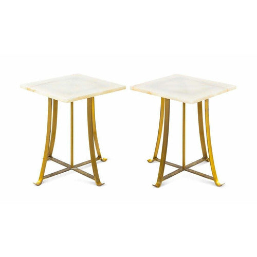 Pair of Brass & Marble End Tables-Vintage-Anecdote