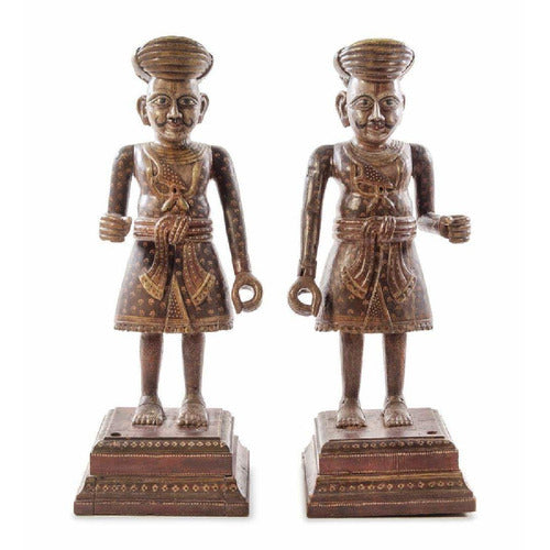 Pair of Southeast Asian Painted Figures-Vintage-Anecdote