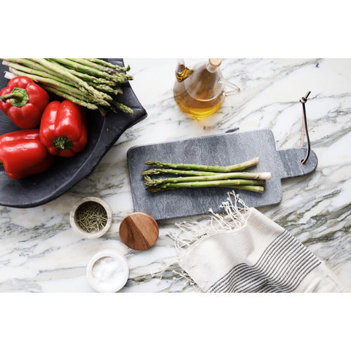 Black Marble Cutting Board with Leather Tie