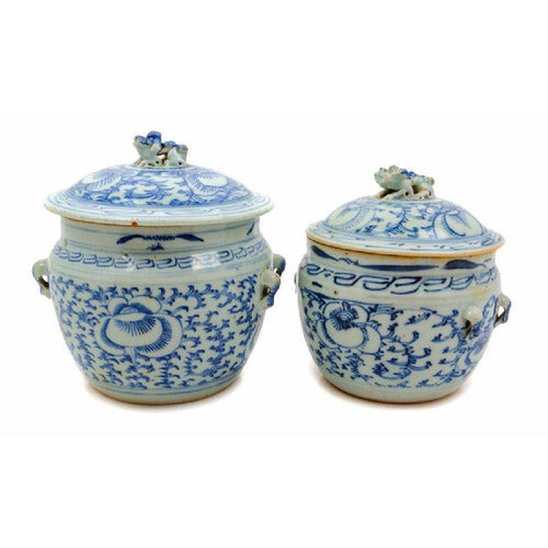 Two Chinese Blue and White Covered Bowls-Vintage-Anecdote