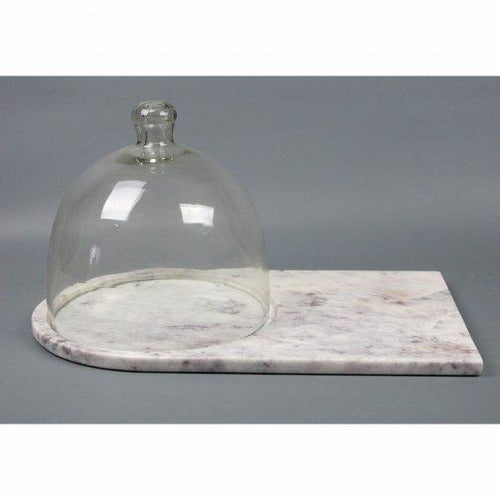 White Marble Cheese Board with Dome-Décor-Anecdote