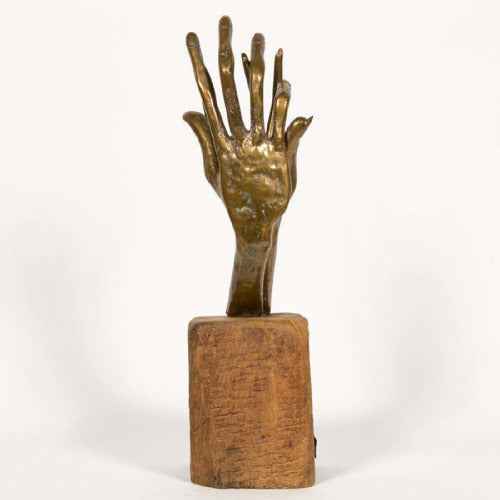 Yves Lohe (French, b. 1947) Two Hands Bronze Sculpture-Vintage-Anecdote