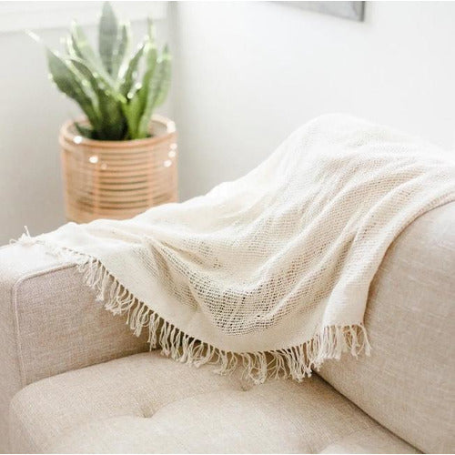 Zambia Open Weave Lightweight Cotton Throw