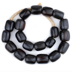 Black Batik Barrel Bone Beads