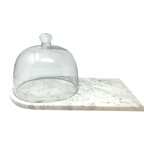 White Marble Cheese Board with Dome
