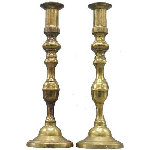 Pair English Brass Colonial Style Candlesticks-Vintage-Anecdote