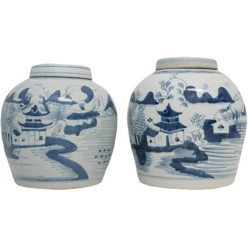 Pair Chinese Canton Porcelain Ginger Jars-Vintage-Anecdote