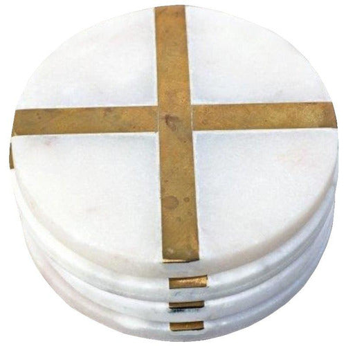 Glimmer Coasters, White, Set of 4-Décor-Anecdote