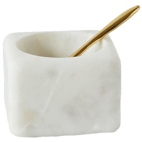 Marble Salt Cellar with Brass Spoon