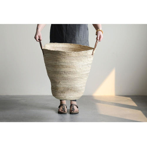 Hand-Woven Moroccan Oversized Basket w/ Leather Handle