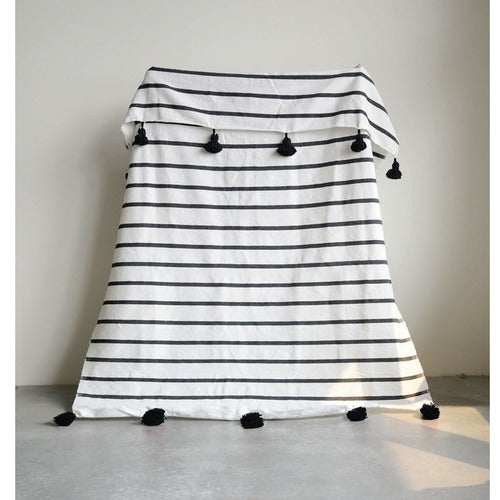 "59""L x 78""W Hand-Loomed Striped Cotton Bed Cover w/ Tassels, Black-Blanket-Anecdote"