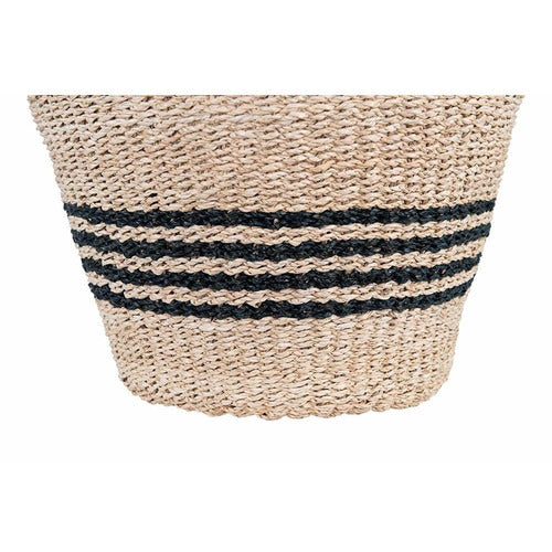 Natural Woven Palm & Seagrass Striped Baskets, Set of 2