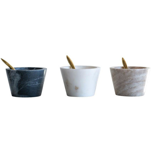 Set of 3 Small Marble Bowls with Brass Spoon