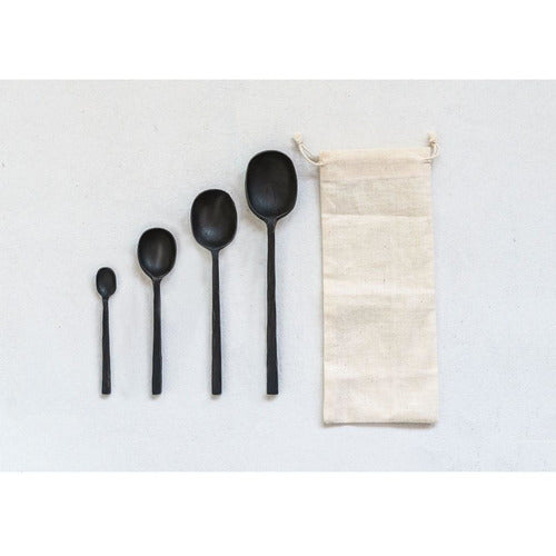 Set of 4 Black Spoons