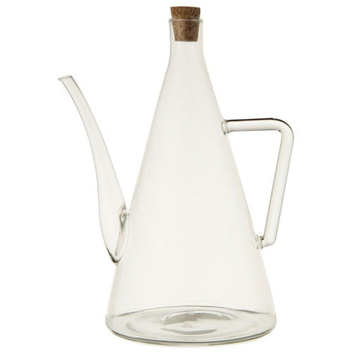 Hand-Blown Glass Oil Cruet w/ Cork Stopper