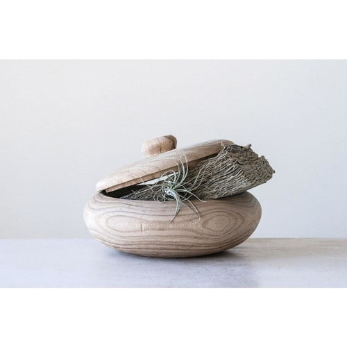 Decorative Paulownia Wood Container w/ Lid