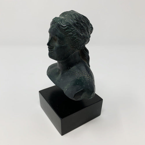 Small Greek Female Bust on Wood Base-Art-Anecdote