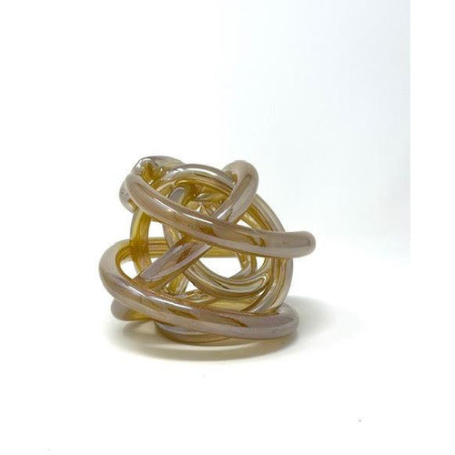 Amber Glass Knot Sculpture