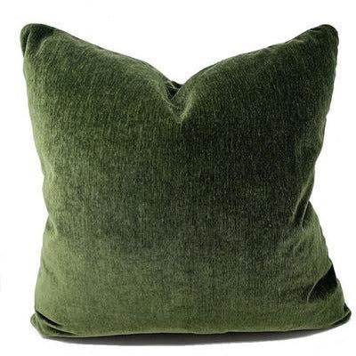 Forest Green Velvet Throw Pillow