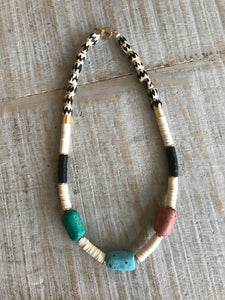 Moroccan Pottery Tribal Necklace