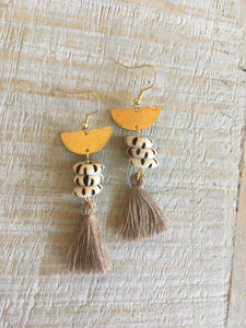 Bone and Fringe Tassel Earrings