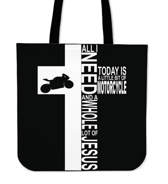 Jesus And Motorcycle-Tote Bag-Elisway