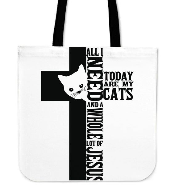 Jesus And Cats-Tote Bag-Elisway