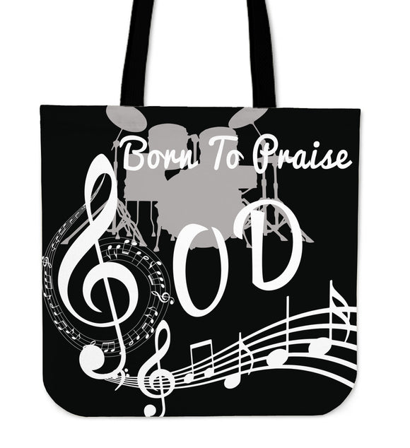 Born To Praise God-Tote Bags (black)-Elisway
