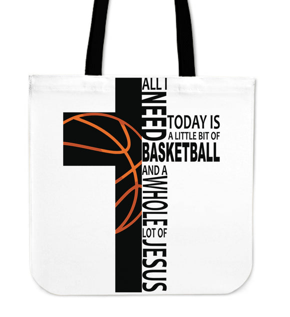 Jesus And Basketball-Tote Bag-Elisway