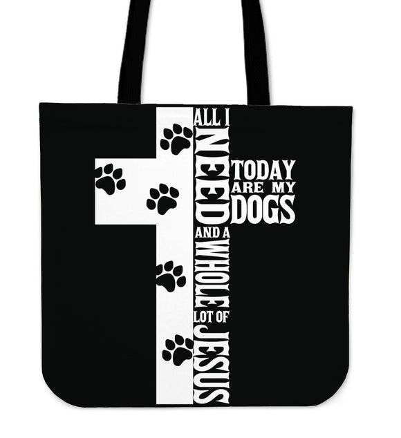 Jesus And Dogs-Tote Bag-Elisway
